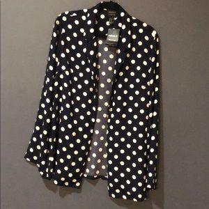 Navy blue and white polka dot blazer